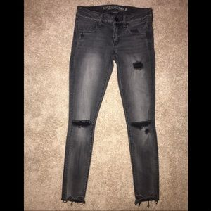 American Eagle Black/Grey Distressed Jeggings
